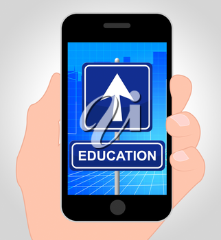 Education Smartphone Showing Studying 3d Illustration