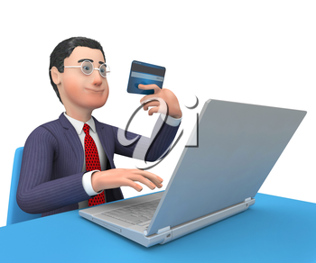 Credit Card Representing World Wide Web And Business Person 3d Rendering