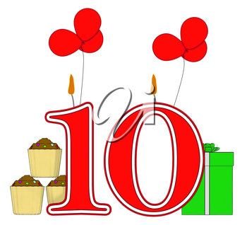 Number Ten Candles Meaning Birthday Presents And Decorated Cupcakes