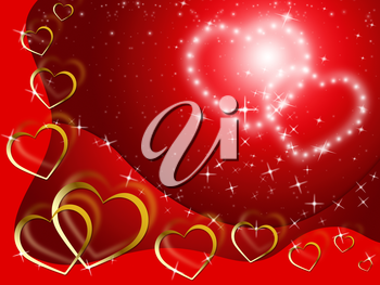 Twinkling Hearts Background Showing Lover And Fondness