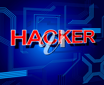 Hacker Sign Indicating Spyware Crack And Unauthorized