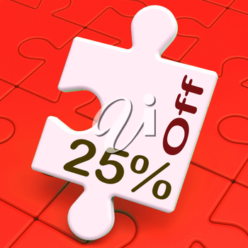 Twenty Five Percent Off Puzzle Meaning Reduction Or Sale 25%