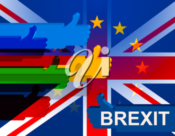 Brexit Thumbs Up Showing Britain And Flag