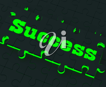 Success Glowing Puzzle Showing Successful Strategies And Achievements