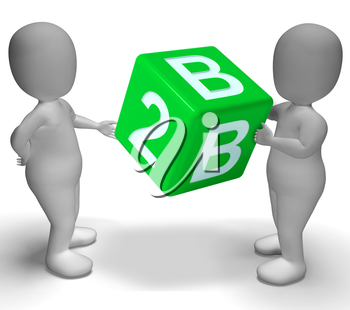 B2b Green Dice As A Sign Of Business And Partnership