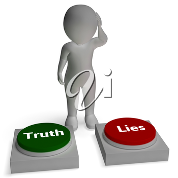 Truth Lies Buttons Shows Honesty Or Dishonesty