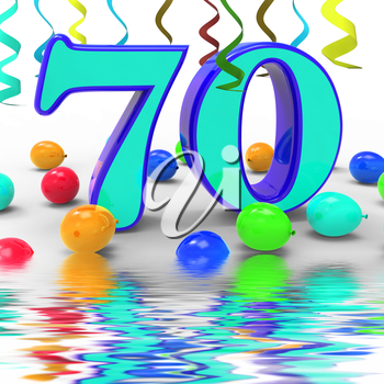Number Seventy Party Displaying Surprise Birthday Party Or Special Event