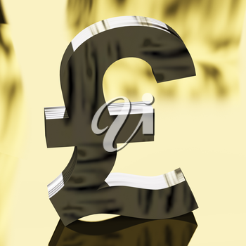 Gold Pound Sign For Money Or Wealth