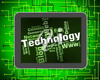 Technology Word Indicating Electronic Words And Hi-Tech