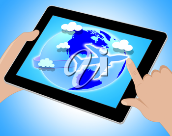 Flights Travel Representing Earth Airline And Explore Tablet