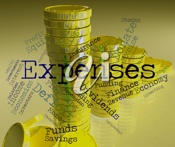Expenses Word Indicating Outlays Finances And Words