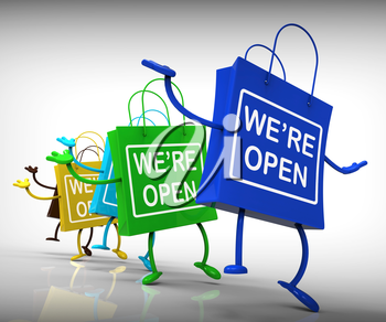 We're Open Bags Showing Shopping Availability and Grand Opening