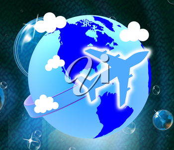 Global Flights Indicating Travel Guide And Voyage