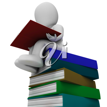 Student And Books Showing Learning And Studying