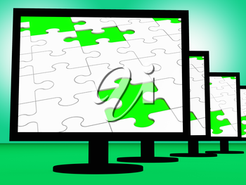 Unfinished Puzzle On Monitors Shows Missing Pieces Or Incomplete