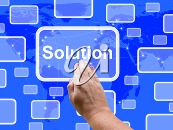 Solution Touch Screen Showing Achievement Resolution Solving And Solved