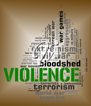 Violence Word Showing Sadism Text And Cruel