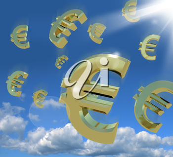 Euro Signs Falling From The Sky As A Sign Of Windfall