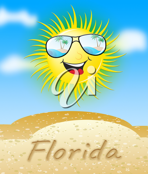 Florida Sun With Glasses Smiling Meaning Sunny 3d Illustration