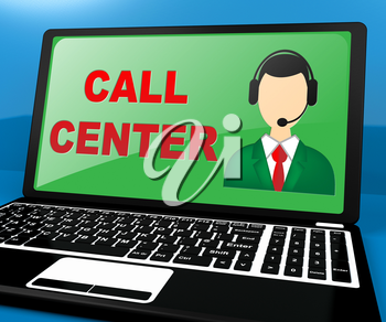 Call Center Laptop Shows Customer service 3d ILlustration
