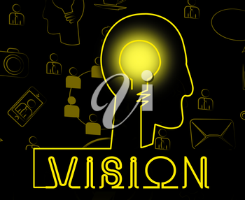Vision Brain Showing Corporate Planning And Objectives