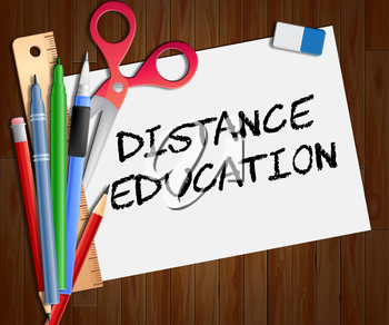 Distance Education Showing Correspondence Course 3d Illustration