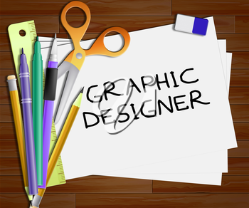 Graphic Designer Representing Designing Job 3d Illustration