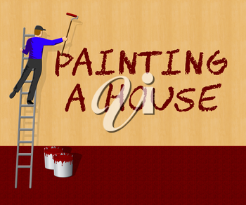 Painting House Showing Home Paint 3d Illustration