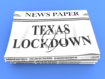 Texas lockdown news means confinement from coronavirus covid-19. Texan solitary seclusion from covid19 with stay home restriction - 3d Illustration
