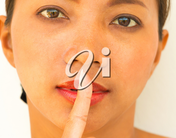 Silence Finger Showing Secrecy and Gossip