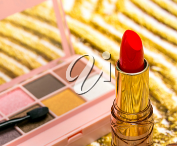 Red Lipstick Makeup Representing Beauty Products And Glamour