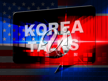 North Korea Peace Cooperation With Usa 3d Illustration. Peace And Talks To Build Accord With Dprk Or NK