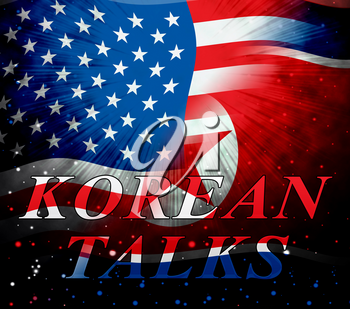 North Korea Denuclearization Talks With Usa 3d Illustration. Conflict And Confrontation To Build Accord With Dictator NK