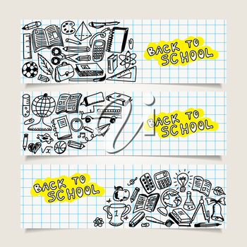 Set of banners with school icons, sketch collection in doodle style, vector illustration