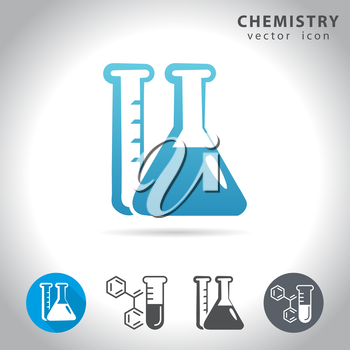 Chemistry icon set, collection of chemical tube icons, vector illustration