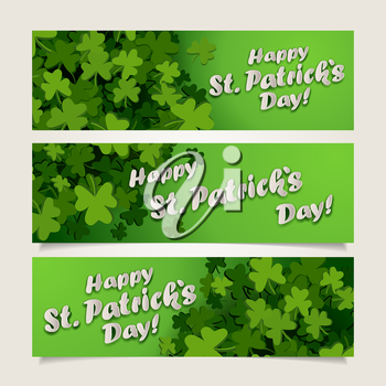 Set of green headers with clover leaves and banners for St. Patrick's Day, vector illustration