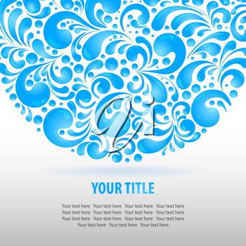 Circle water drops decoration made of swirls shapes, vector illustration background