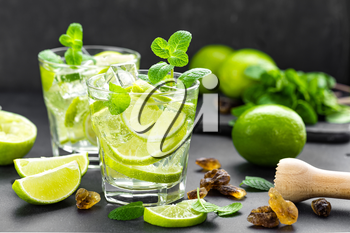 Summer mint lime refreshing cocktail mojito with rum and ice in glass on black background