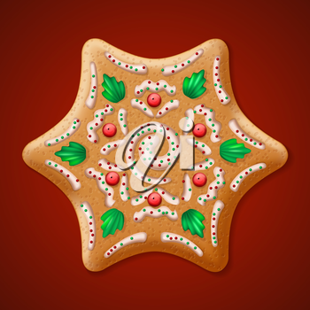 Ornate realistic vector traditional Christmas gingerbread Star. Vector illustration EPS10
