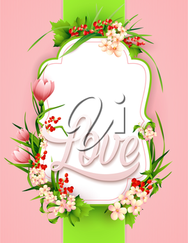 Greeting card with colorful flower background. Vector illustration.