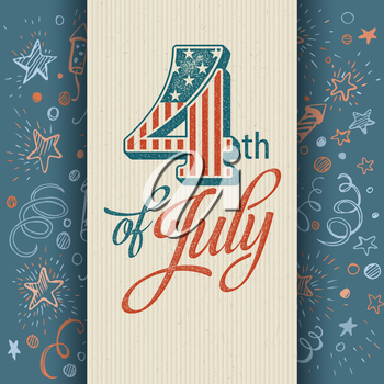 Retro typography card Independence Day. Vector illustration EPS 10