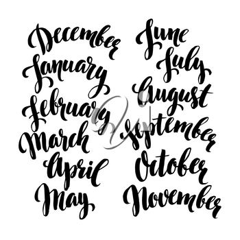 Handwritten months of the year. Vector illustration EPS 10