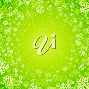 Christmas background of snowflakes in green colors EPS10