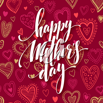 Mothers day lettering card with redseamless background and handwritten text message. Vector illustration EPS10