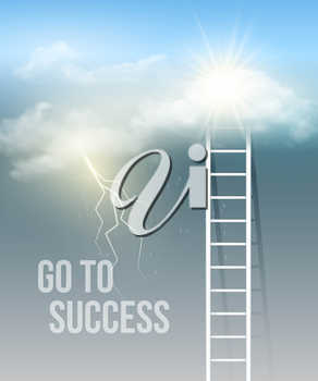 Cloud stair, the way to success in blue sky. Vector illustration EPS 10