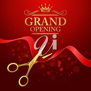 Grand opening illustration with red ribbon and gold scissors EPS 10