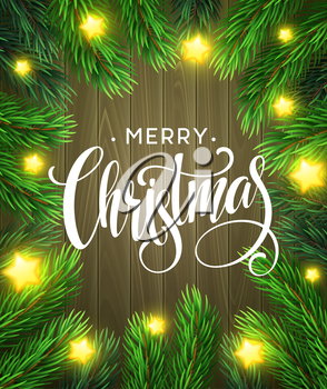 Christmas Tree Branches Border with handwriting Lettering. Vector Illustration EPS10