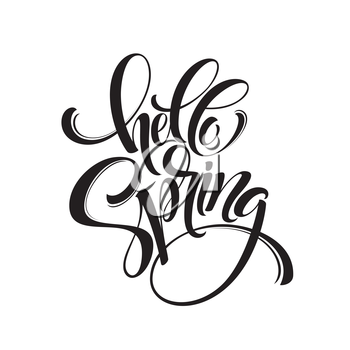 Hello Spring phrase lettering. Hand drawn calligraphy. Vector illustration EPS10