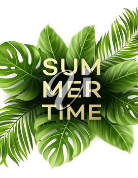 Summer poster with tropical palm leaf . Vector illustration EPS10