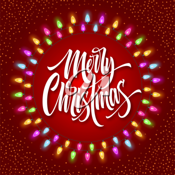 Merry Christmas lettering in gerland circle frame. Xmas calligraphy with glowing lights and snow. Christmas greeting on red background. Postcard, poster, banner design. Isolated vector